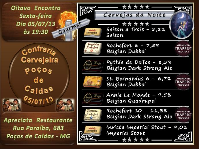 Confraria Cervejeira de Poços de Caldas - Oitavo Encontro  - 05/07/2013